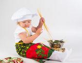 クック帽子の女の赤ちゃん — ストック写真