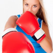 Pretty girl with boxing gloves — Lizenzfreies Foto