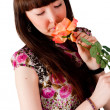 Pretty woman with flower — Stock Photo #13720052