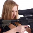 Beautiful young woman aiming — Stock Photo