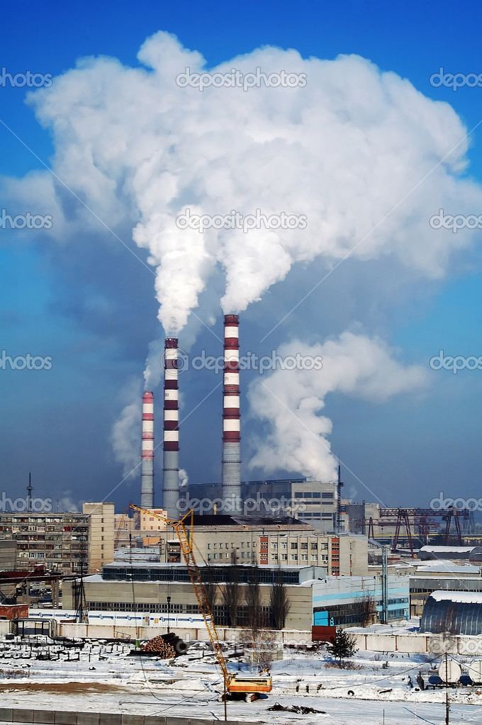 City Energy and Warm Power Factory in very cold winter season — Stock Photo #14610737