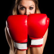 Beautiful nude girl with boxing gloves — Stockfoto
