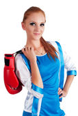 Pretty girl with boxing gloves — Stockfoto