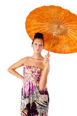 Attractive girl with umbrella — Stock Photo