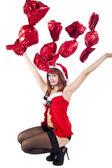 Krásná a sexy žena, Vánoce — Stock fotografie