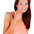 Girl with victory sign — Stock Photo