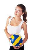 Unga skönheten volleybollspelare — Stockfoto