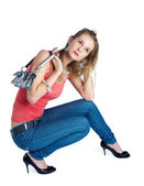 Beautiful woman with bag — Stock Photo