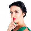Woman making a keep it quiet gesture — Stock Photo