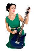 Bella donna con chitarra — Foto Stock