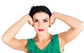 Woman with closed ears — Stock Photo