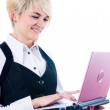 Young attractive woman with laptop — Stock Photo