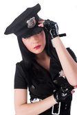 Sexy police woman — Stock Photo