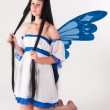 Attractive girl as fairy with wings — Stock Photo