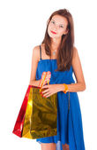 Attractive woman holding bags — Stock Photo