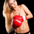 Beautiful nude girl with boxing gloves — Stockfoto #19209891