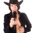 Pretty sexy girl aiming to you — Stock Photo