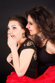 Two gossiping girlfriends — Стоковое фото