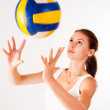 Stock Photo: Young beauty volleyball player