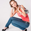 Beautiful woman with bag — Stock Photo