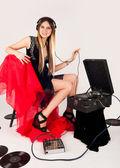 Beautiful woman listen music — Stock Photo