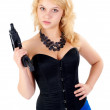 Beautiful sexy blond woman with gun — Stock Photo