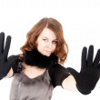 Pretty woman showing stop gesture — Stock Photo #22374991