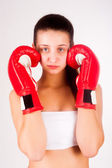 Portrait of female boxer — Stock Photo
