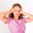 Hear no evil - Young woman covering her ears — Stock Photo