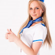 Young beautiful air hostess — Stock Photo