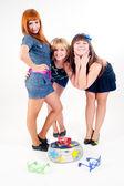 Drei hübsche tänzer — Stockfoto