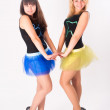Two pretty girls dancing — Stock Photo
