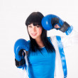 Pretty girl with boxing gloves — Stock Photo