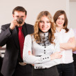Attractive business lady and her team — Stock Photo #24144507