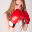 Pretty girl with boxing gloves — Stock Photo #24278231