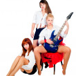 Musical girls band — Stock Photo
