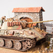 "Miniature with german tank ""Panther"" - Stock Photo"