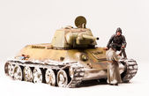 Halt of soviet t 34 tank crew — Stock Photo
