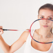 Beautiful girl with a racket in hands — Stock Photo