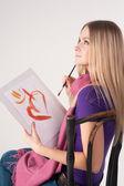 Krásná žena, malování — Stock fotografie