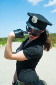 Sexy police woman — Stock Photo