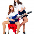 Musical band of girls — Stock Photo