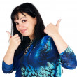 Stock Photo: Pretty womwith thumbs up