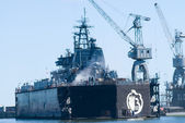 Ship in Baltiysk dry dock — Stock Photo