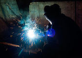 Skilled working factory welder — Foto Stock
