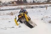 Sport snowmobile jump — Stock Photo