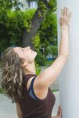 Girl in city park — Stock Photo