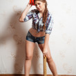 Attractive woman on construction site — Stock Photo #34101407