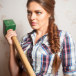 Attractive woman on construction site — Stock Photo #34102955