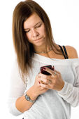 Girl writing sms — Stock Photo